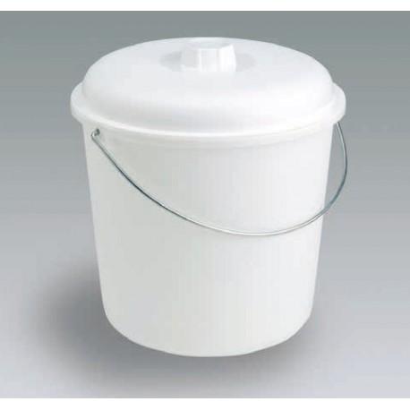 CUBO PLASTICO BLANCO CON TAPA 17 Lts.  290x330 mm.