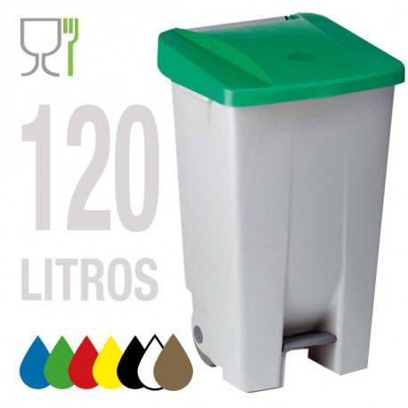 CUBO SELECTIVO CON RUEDAS Y PEDAL 120 L.