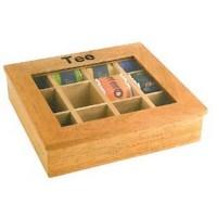 Caja madera para te 31x28x9 cm.